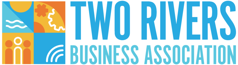 Two Rivers Business Association logo with Neshotah Beach in the background
